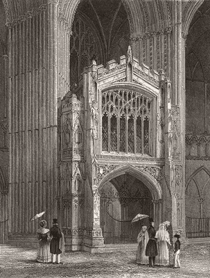 CAMBS: Peterborough cathedral Porch west end, print, 1851
